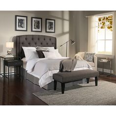 Republic Design House Peyton Grey Tufted Upholstered Headboard-Bench Collection (Peyton Grey Queen/Full Headboard-Bench Complete)