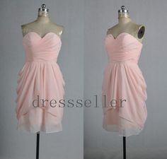 Custom Light Pink Chiffon Short Prom Dress Ruffle by dressseller