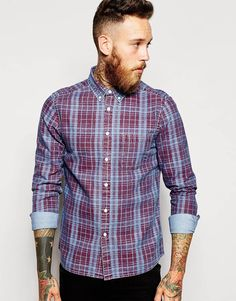 ASOS+Denim+Shirt+In+Printed+Check+With+Long+Sleeves