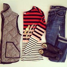 Skinnies, herringbone vest, striped shirt, flats. Perfect fall outfit