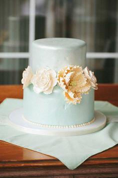 powder blue mint wedding cake