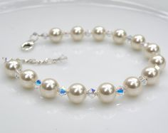 Bridesmaid Pearl and Crystal Bracelet White Swarovski by fineheart