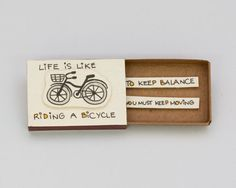 """Fun Inspirational Card """"Life is like riding a bicycle"""" Matchbox/ Gift box / Message box/ Diy Crafts For Gifts, Fathers Day Crafts, Paper Crafts, Matchbox Crafts, Matchbox Art, Diy Birthday, Birthday Cards, Birthday Ideas, Birthday Gifts"""