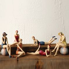 $30 OR $50 for set of six, resin. Cute little things to tuck in here and there, keep a few & give some as gifts. Bathing Beauty Figurines