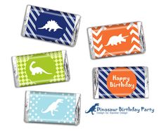Dinosaur Birthday Party Mini Candy Bar Wrappers by SqweezDesign, $4.99