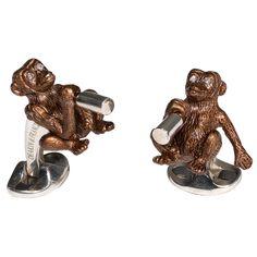 DEAKIN & FRANCIS Diamond Silver Monkey Cufflinks | From a unique collection of vintage cufflinks at http://www.1stdibs.com/jewelry/cufflinks/cufflinks/