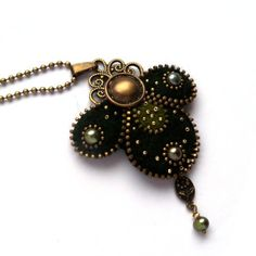Aneta Kulesza.Unusual Zipper Pendant, Felt Pendant with Olivie Pearl, Handmade Jewelry with Button via Etsy