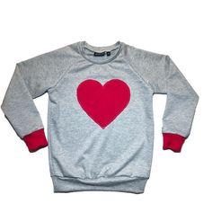 Grey / Red Heart Patch Raglan, Newborn - 12 Girls, Valentine's Day Baby Fashion, Toddler Fashion, Valentine's Outfit