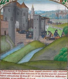 Город Гент(Бельгия)15 век. The town of Ghent (Belgium) in the fifteenth century. (BL, MS Royal 14 E IV, f.121)