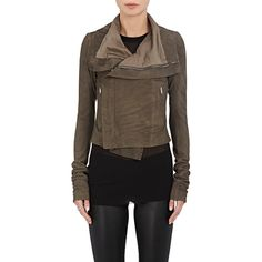 Rick Owens Women's Blistered Leather Biker Jacket ($2,429) ❤ liked on Polyvore featuring outerwear, jackets, grey, fleece-lined jackets, zipper leather jacket, gray jacket, grey leather jackets and leather moto jackets