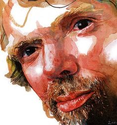 Richard Branson by Michael Frith - I love this artists portraits (Sunday TImes artist). They are light and fresh and loose and this is where I would like to go! Watercolor Portraits, Watercolour, Office Mural, Richard Branson, Painting People, Painting & Drawing, Photo Art, Sunday, Artists