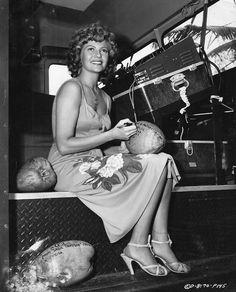 """Rita Hayworth on the set of """"Miss Sadie Thompson"""""""