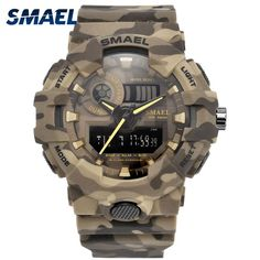 84be56bb092 New Camouflage Military Watch SMAEL Brand Sport Watches LED Quartz Clock Men  Sport Wristwatch 8001 Mens Army Watch Waterproof