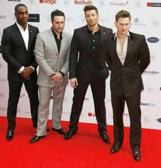 Simon Webbe, Antony Costa, Duncan James and Lee Ryan of Blue arrive at the FIFI UK Fragrance Awards in London, Thursday, May 17, 2012. (AP Photo/Jim Ross)