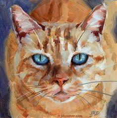 """Daily Paintworks - """"Orange Tiger Kitty"""" - Original Fine Art for Sale - © J. Dunster"""
