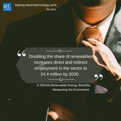 Doubling the share of renewables increases direct and indirect employment in the sector to million by Renewable Energy, Economics, Innovation, Technology, Places, Tech, Tecnologia, Finance, Lugares
