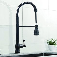 VESLA Best Antique Single Handle Stainless Steel Pull Out Sprayer  Commercial High Arc Kitchen Sink Faucets