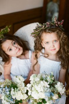 lilac wreaths for flower girls - Alea Lovely - http://ruffledblog.com/vintage-estate-wedding-inspiration/