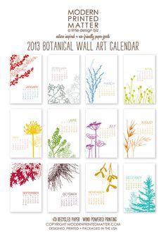 2013 Calendar / Botanical / Wall by ModernPrintedMatter on Etsy, $24.00