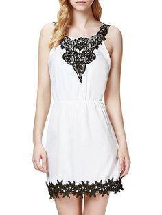 Buy Lace Patchwork Elegant Round Neck  Shift-dress online with cheap prices and discover fashion Shift Dresses at Fashionmia.com.