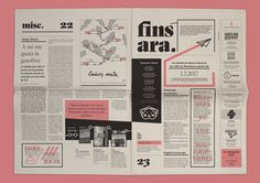 Graphic design for a monthly independent Barcelona newspaper based on a 3 stroke system and asymmetric distribution of space. Fun, quirky and bold design, just like its content. Id Design, Page Design, Book Design, Newspaper Format, Newspaper Design, Graphic Design Books, Graphic Design Inspiration, Editorial Layout, Editorial Design
