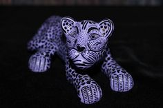 #1 Purple Jaguar Figure, Hand Made Mayan Chiapas Mexico Folk Art Tribal Panther