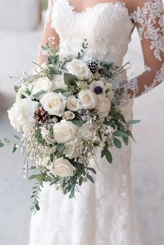 Wintery White Rose, Pine Cone and Silver Brunia Bouquet Winter Bridal Bouquets, Cascading Wedding Bouquets, Winter Bouquet, Flower Bouquet Wedding, Orchid Bridal Bouquets, White Rose Bouquet, Purple Bouquets, Bridesmaid Bouquets, Pink Bouquet