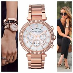 Rose Gold Watch Authentic Michael Kors Rose Gold Watch w/ box and extra links. The band does have some wear to it as pictured and the bezel has one light scratch above and to the right of the Michael Kors brand. Still a beautiful piece! No trades and I only sell on Posh. Style is MK5491. Michael Kors Accessories Watches