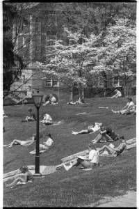 People recline on amphitheater grass behind Ohio University's Scripps Hall, 1988 :: Ohio University Archives
