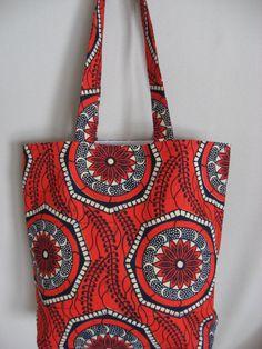 Orange and Navy African Print, Medium Tote, Work BAG, Shopping BAG, Spring Summer Purse
