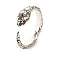 Serpent Ring in Sterling Silver with Rubies