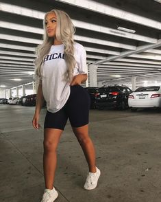 plus size biker shorts outfit white biker shorts outfit biker shorts outfit curvy Fresh Outfits, Chill Outfits, Swag Outfits, Mode Outfits, Trendy Outfits, Summer Outfits, Fashion Outfits, Fashion Fashion, Latest Fashion