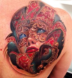 Tattoo Artist - Rember Orellana - mask tattoo | www.worldtattoogallery.com