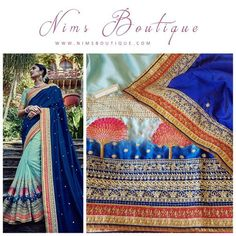 Maharani Royal & Light Blue Sari with Peacock embroidery