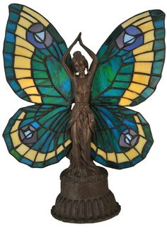 17 Inch H Butterfly Lady Accent Lamp