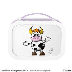 Lunchbox. Monogram And Cow.