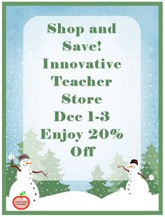 Happy Holiday Sale! 20%OFF from Dec 1-3 at the Innovative Teacher Store