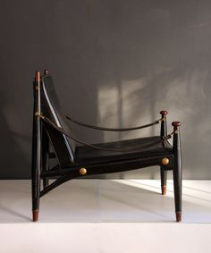 Frank Kyle; Wood, Brass and Leather Armchair, 1950s.