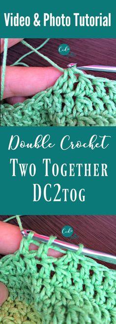 (double crochet two together) double crochet decrease video and photo tutorial # double crochet decrease Double Crochet Two Together Video & Photo Tutorial - ChristaCoDesign Dc2tog Crochet, Crochet Diy, Easy Crochet Projects, Tutorial Crochet, Crochet Tutorials, Crochet Mandala, Crochet Afghans, Crochet Blankets, Vintage Crochet