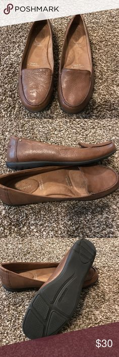 Rockport leather flats. Soft brown leather. Rockport leather flats.  Adiprene by adidas.