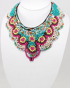 "$19.99 IN STOCK 40"" Colorful Seed Bead Bib Statement Necklace with Ribbon Tie"