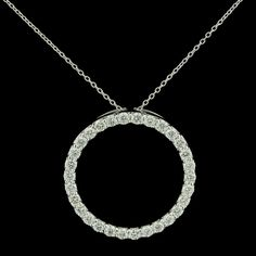 Simple and Classic Style - Roberto Coin 18K White Gold Diamond Circle Pendant