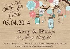 Rustic Mason Jar Tree Floral & Wood Save the by PartyPopInvites