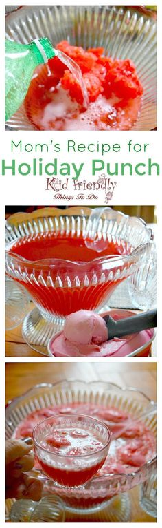 Mom's Recipe for Easy Raspberry Sherbert and Cranberry Holiday Punch