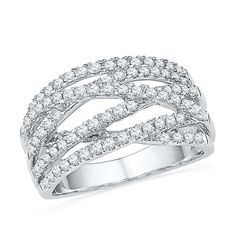 0.63 CT. T.W. Diamond Multi-Row Crossover Ring in 10K White Gold