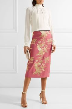 Pink crepe Concealed hook and zip fastening at back 57% acetate, 43% viscose; lining: 100% silk Specialist clean Made in England