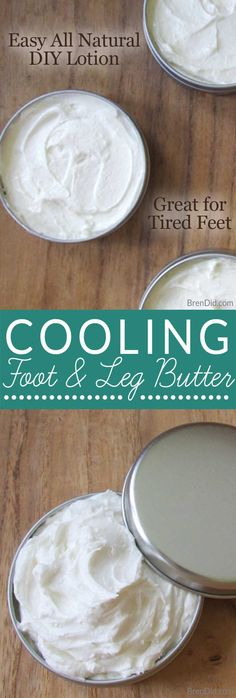 Easy Cooling Foot and Leg Butter Recipe soothes & softens feet with 3 essential oils to cool, deodorize & naturally kill bacteria plus natural moisturizers.
