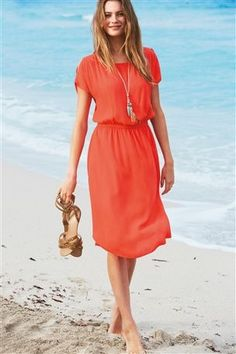Coral Split Sleeve Dress