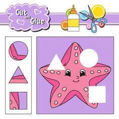 Find Cut Glue Game Kids Education Developing stock images in HD and millions of other royalty-free stock photos, illustrations and vectors in the Shutterstock collection. Shapes Worksheets, Worksheets For Kids, Cartoon Starfish, Ocean Lesson Plans, Star Illustration, Languages Online, Learning Numbers, Color Activities, Colorful Birds