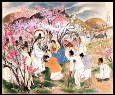 Artist Ki-Chang Kim : Famous Painting Series upper) Jesus Christ heals the sick , painted on silk, Religious Pictures, Religious Icons, Religious Art, Christian Paintings, Christian Artwork, Silk Painting, Figure Painting, Abraham Bible Story, Jesus Mary And Joseph